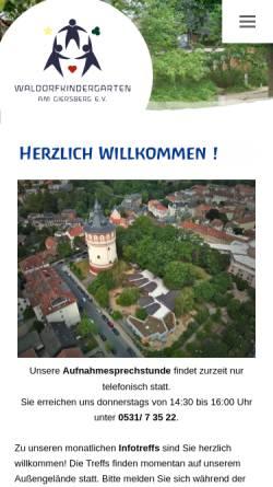 Vorschau der mobilen Webseite www.waldorfkindergarten-giersberg.de, Waldorfkindergarten am Giersberg e.V.
