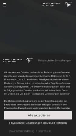 Vorschau der mobilen Webseite www.carolus-thermen.de, Carolus Thermen Bad Aachen