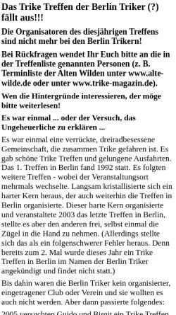 Vorschau der mobilen Webseite www.berlin-triker.de, Berlin Triker