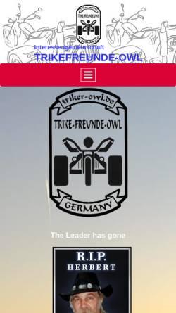 Vorschau der mobilen Webseite www.triker-owl.de, Interessengemeinschaft Trike-Freunde Germany