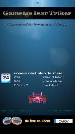Vorschau der mobilen Webseite www.gamsige-isar-triker.de, Trikeclub Gamsige Isar Triker e.V.
