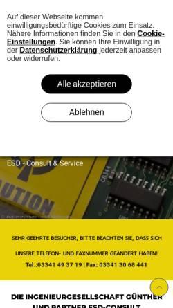 Vorschau der mobilen Webseite www.esd-consult.de, ESD-Consult & Service - Ingenieurgesellschaft Günther und Partner