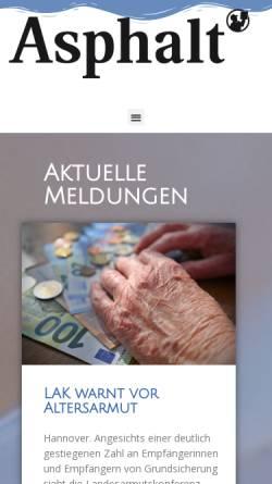 Vorschau der mobilen Webseite www.asphalt-magazin.de, Asphalt Magazin, Hannovers Straßenzeitung