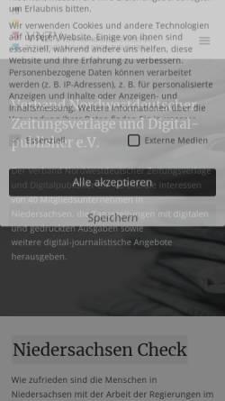 Vorschau der mobilen Webseite www.vnzv.de, Verband Nordwestdeutscher Zeitungsverlage e. V.