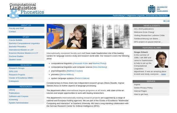 Vorschau von www.coli.uni-saarland.de, Institut für Computerlinguistik und Phonetik an der Universität des Saarlandes