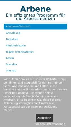 Vorschau der mobilen Webseite www.arbene.de, Dr. med. Wolfgang Klawitter