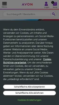 Vorschau der mobilen Webseite www.avon.de, Avon Cosmetics GmbH