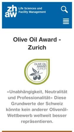 Vorschau der mobilen Webseite www.oliveoilaward.ch, International Olive Oil Award