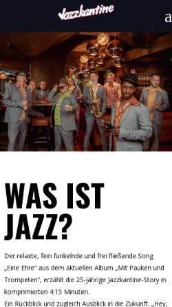 Vorschau der mobilen Webseite www.jazzkantine.de, Jazzkantine im Internet