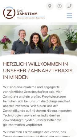 Vorschau der mobilen Webseite www.zahnaerzte-in-minden.net, Zahnärzte de Jonckheere, Olfens, Schwenker, Dr. Falch