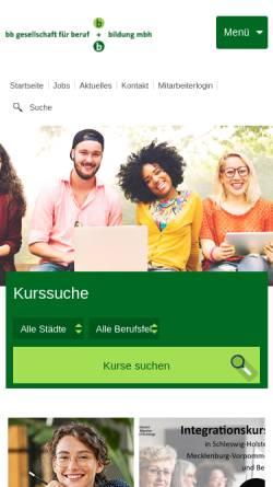 Vorschau der mobilen Webseite www.bb-gesellschaft.de, BB Gesellschaft für Beruf und Bildung mbH