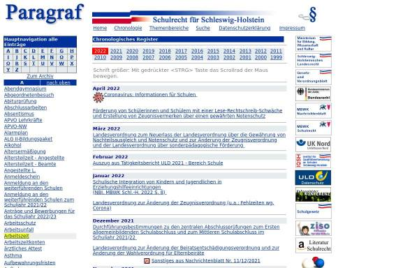 Vorschau von schulrecht-sh.de, Paragraf - Schulrecht für Schleswig-Holstein