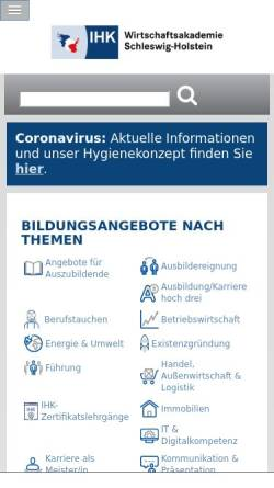 Vorschau der mobilen Webseite www.wak-sh.de, Wirtschaftsakademie Schleswig-Holstein