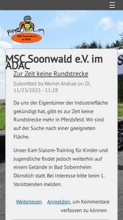 Vorschau der mobilen Webseite www.msc-soonwald.de, MSC-Soonwald e.V. im ADAC