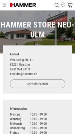 Vorschau der mobilen Webseite www.hammer.de, Hammer Sport AG