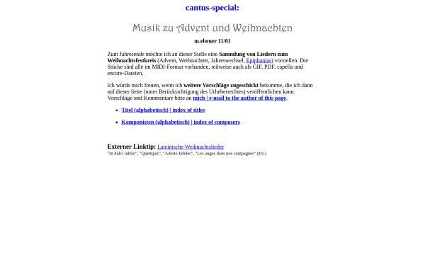 Vorschau von www.cantus.org, Musik zu Advent und Weihnachten