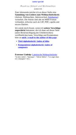 Vorschau der mobilen Webseite www.cantus.org, Musik zu Advent und Weihnachten