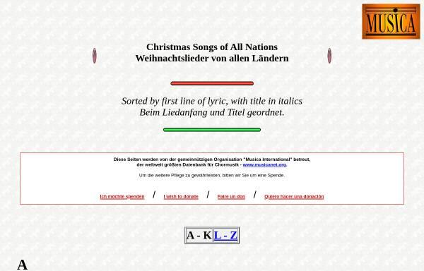 Vorschau von www.musicanet.org, Weihnachtslieder von allen Ländern