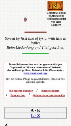 Vorschau der mobilen Webseite www.musicanet.org, Weihnachtslieder von allen Ländern