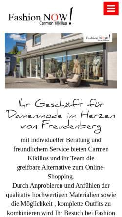 Vorschau der mobilen Webseite www.fashion-now.de, Fashion Now, Carmen Kikillus