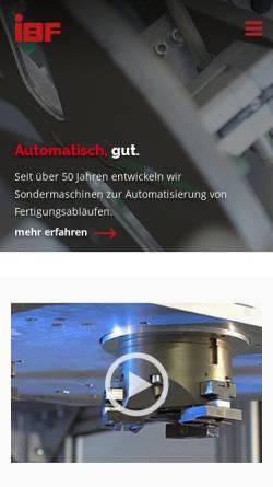 Vorschau der mobilen Webseite www.ibf-automation.de, IBF GmbH Freudenberg