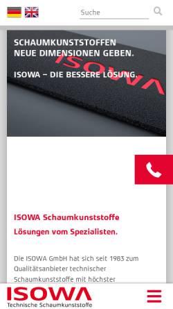 Vorschau der mobilen Webseite www.isowa.de, ISOWA GmbH - Technische Schaumkunststoffe