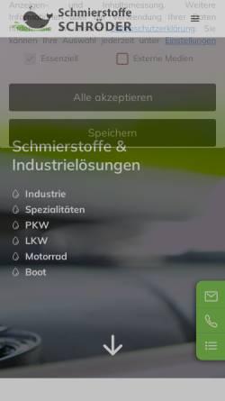 Vorschau der mobilen Webseite schroeder-schmierstoffe.de, Schröder KG Schmierstofftechnik