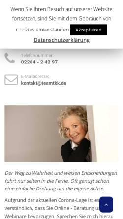 Vorschau der mobilen Webseite teamtkk.de, Team TKK - Team Training Karin König