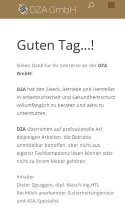 Vorschau der mobilen Webseite www.dza.ch, DZA - Dieter Zgraggen Arbeitssicherheit
