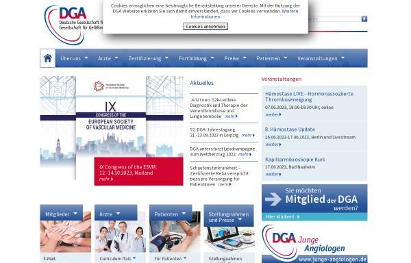 Vorschau von www.dga-gefaessmedizin.de, Deutsche Gesellschaft für Angiologie/Gesellschaft für Gefäßmedizin