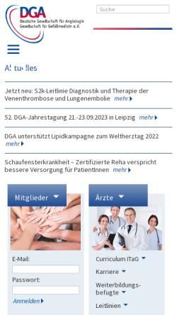 Vorschau der mobilen Webseite www.dga-gefaessmedizin.de, Deutsche Gesellschaft für Angiologie/Gesellschaft für Gefäßmedizin