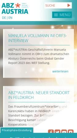 Vorschau der mobilen Webseite www.abzwien.at, ABZ Wien - Chancen der Frauen Chancen der Wirtschaft