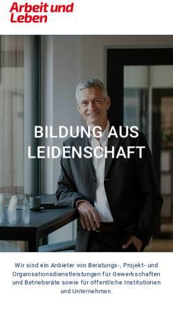 Vorschau der mobilen Webseite www.arbeit-und-leben.de, Arbeit und Leben Rheinland-Pfalz e.V.