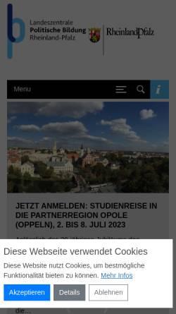 Vorschau der mobilen Webseite www.politische-bildung-rlp.de, Landeszentrale für politische Bildung Rheinland-Pfalz