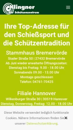 Vorschau der mobilen Webseite www.klingner-gmbh.de, Klingner GmbH Schützenbedarf