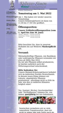 Vorschau der mobilen Webseite www.kraeuter-simon.com, Kräuter-Simon