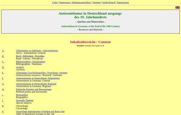 Vorschau von www.gehove.de, Antisemitismus in Deutschland im späten 19. Jahrhundert