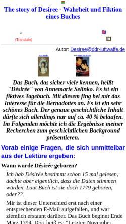 Vorschau der mobilen Webseite home.snafu.de, Desiree Bernadotte