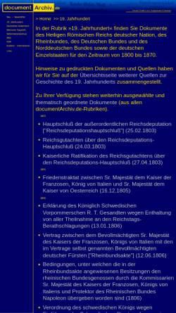 Vorschau der mobilen Webseite www.documentarchiv.de, documentArchiv.de - 19. Jahrhundert