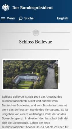 Vorschau der mobilen Webseite www.bundespraesident.de, Bellevue-Berlin, Kunsthistorische Führungen