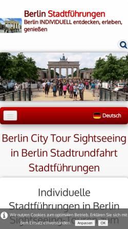Vorschau der mobilen Webseite www.berlin-stadtfuehrung.de, Berlin Stadtführungen Sightseeing Tours