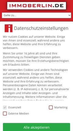 Vorschau der mobilen Webseite www.immoberlin.de, IMMOBERLIN