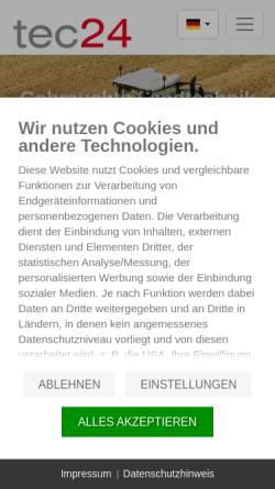 Vorschau der mobilen Webseite www.tec24.com, tec24.com, Land24 GmbH