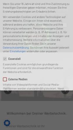 Vorschau der mobilen Webseite www.neon-greiner.de, Neon Greiner, Inh. Uwe Greiner