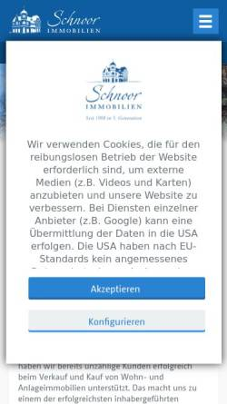 Vorschau der mobilen Webseite www.schnoorimmobilien.de, Schnoor Immobilien