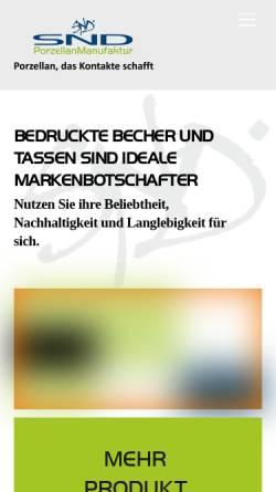 Vorschau der mobilen Webseite www.snd-porzellan.de, SND Porzellan Manufaktur GmbH