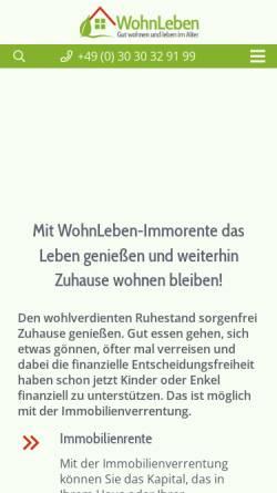 Vorschau der mobilen Webseite www.wohnlife.de, Wohnlife Immobilien Service GmbH