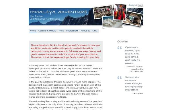 Vorschau von www.himalaya-adventure.de, Himalaya Adventure