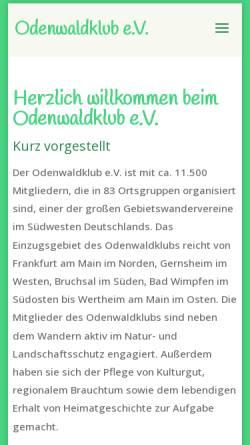 Vorschau der mobilen Webseite www.odenwaldklub.de, Odenwaldklub e.V.