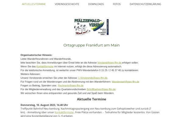 Vorschau von www.pwv-ffm.de, Pfälzerwald-Verein Ortsgruppe Frankfurt